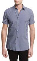 Vince Melrose Chevron-Print Jacquard Short-Sleeve Shirt, Blue