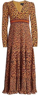 Saloni Talitha Printed & Embellished Silk Dress