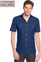 Alfani Short Sleeve Warren Textured Shirt