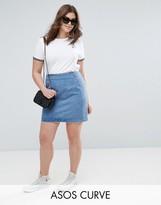 Asos Denim Mini Skirt In Midwash Blue