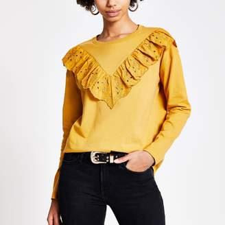 River Island Womens Yellow broderie frill long sleeve T-shirt
