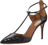 Aquazzura Scarlet Snakeskin Ankle Pump, Black