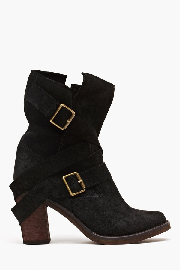 Nasty Gal France Strapped Boot - Black Suede