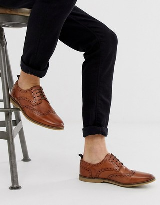 ASOS DESIGN brogue shoes in tan leather with faux crepe sole
