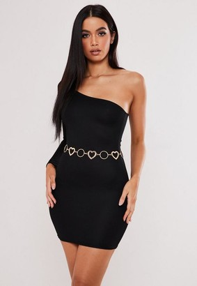 Missguided Black Bodycon One Sleeve Mini Dress