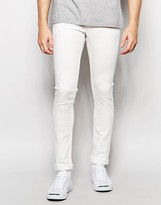 Solid Skinny Fit Stretch Jeans In White