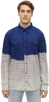 Bleach Dipped Cotton Plaid Shirt