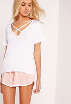 Missguided V-Neck Cross Strap T-Shirt White