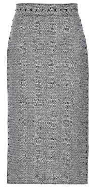 Valentino Embellished wool tweed pencil skirt