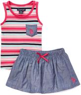 U.S. Polo Assn. Fuchsia Chambray Pocket Tank & Skorts - Infant & Toddler