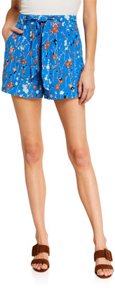 Equipment Taimee Floral Belted Silk Shorts