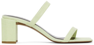 BY FAR SSENSE Exclusive Green Lizard Tanya Heeled Sandals
