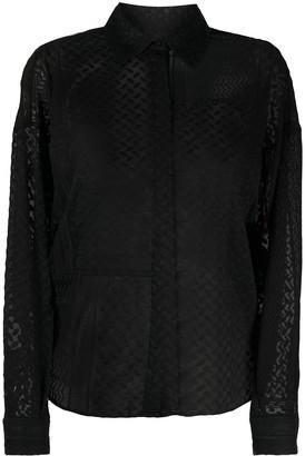 Lala Berlin Embroidered Semi-Sheer Shirt