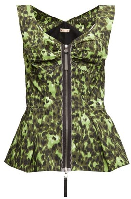 Marni Abstract-print Zipped Peplum-hem Top - Green Multi