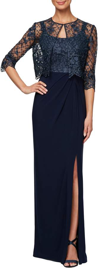 Alex Evenings Sleeveless Evening Dress with Lace Jacket