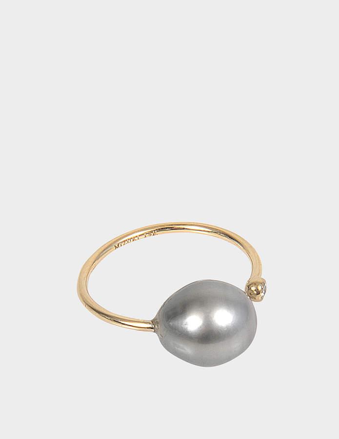 Mizuki Open Diamond and Pearl ring
