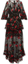 Alice McCall Marigold Guipure Lace-trimmed Embroidered Tulle Maxi Dress - Black