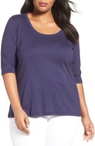 Sejour Plus Size Women's Elbow Sleeve Scoop Neck Tee
