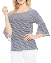 Vince Camuto Charter Mini-Stripe Bell Sleeve Top