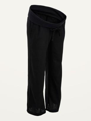 Old Navy Maternity Rollover-Waist Linen-Blend Wide-Leg Pants