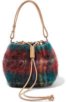 Muun Fugu Leather-trimmed Tartan Mohair-blend Bucket Bag - Red