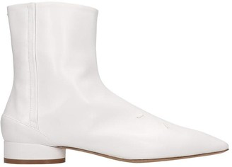 Maison Margiela Low Heels Ankle Boots In White Leather