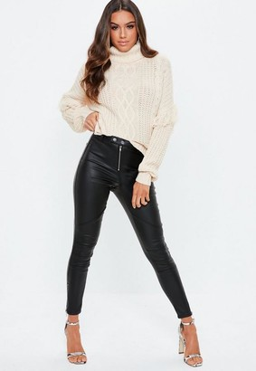 Missguided Black Double Popper Coated Biker Jeans