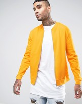 Asos Jersey Bomber Jacket In Yellow