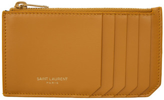 Saint Laurent Yellow Fragments Zipped Card Holder