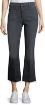 Mother Patch Slacker Crop Fray Flared Jeans