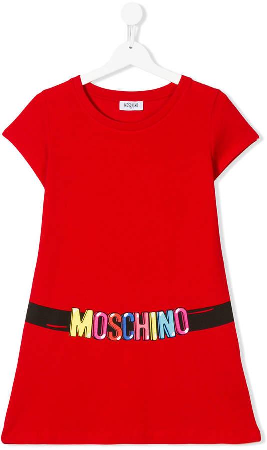 Moschino Kids logo belt print T-shirt