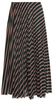 M Missoni Pleated Striped Metallic Crochet-knit Midi Skirt