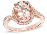 Zales Oval Morganite and 1/5 CT. T.W. Diamond Ring in 14K Rose Gold