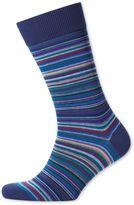 Blue Multi Stripe Socks Size Large By Charles Tyrwhitt