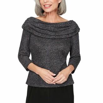 Alex Evenings Women's Plus Size Ruched Collar Blouse