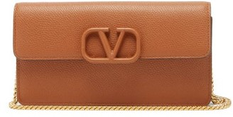 Valentino V-sling Small Leather Cross-body Bag - Womens - Brown