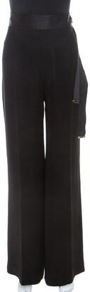 Carolina Herrera Black Crepe Waist Tie Detail Flared Pants M