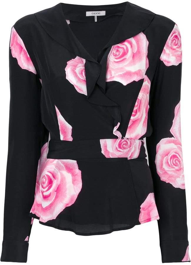 Ganni rose print peplum top