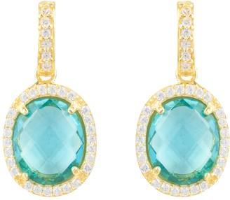 Latelita Beatrice Oval Gemstone Drop Earrings Gold Blue Topaz Hydro