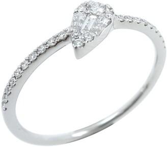 Bony Levy Mika 18K White Gold Pave Diamond Pear Shape Ring - 0.18 ctw