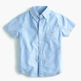 J.Crew Pre-order Kids' critter oxford cotton shirt in pizza