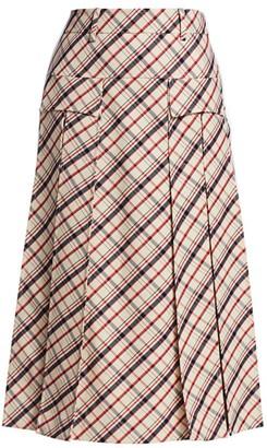 Prada Gab Check Pleated Midi Skirt