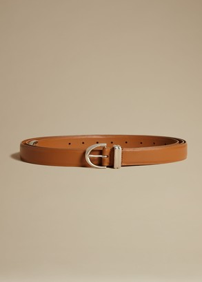 KHAITE The Brooke Double-Wrap Belt in Caramel with Silver