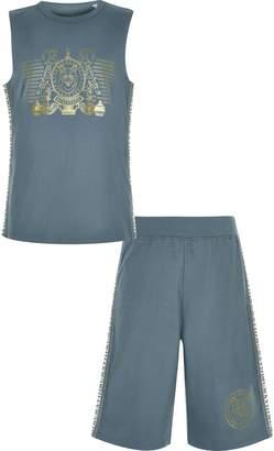 River Island Boys Navy foil print vest pyjama set