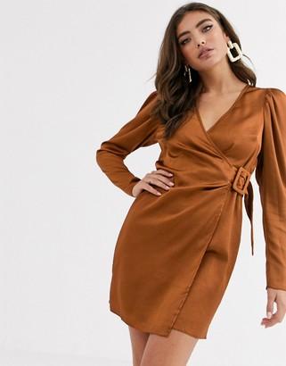 ASOS DESIGN satin wrap mini dress with buckle in rust