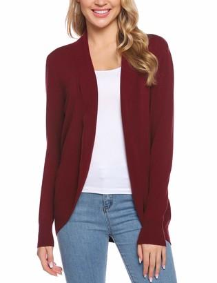 iClosam Womens Cardigans Lightweight Long Sleeve Waterfall Open Front Drape Hem Long Sweater Cardigan(S-XXL) Red