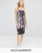 Asos Midi Cami Dress In Abstract Print