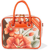 Balenciaga Blanket Small Printed Leather Tote - Orange
