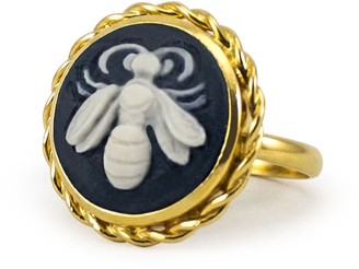 Vintouch Italy Black Bee Cameo Ring