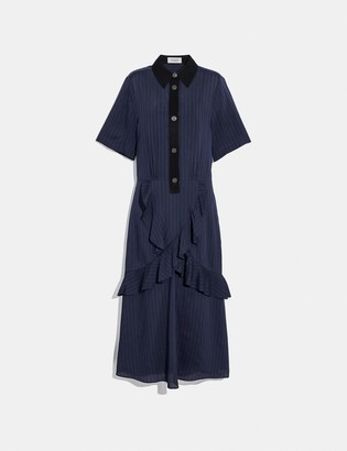 Coach Striped Long Ruffle Shirt Dress